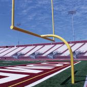 """Football Goal Posts - 6-5/8"""" Pole   8' Offset   20' Uprights   23'-4"""" Wide [HS]   Leveling Plate - Max-1"""